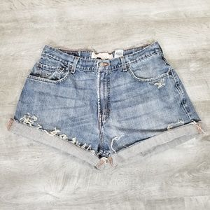 Levi's high waisted distressed cutoff jean shorts.